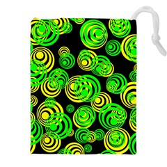 Neon Yellow And Green Circles On Black Drawstring Pouches (xxl)