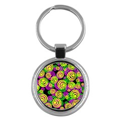 Bright Yellow Pink And Green Neon Circles Key Chains (round)