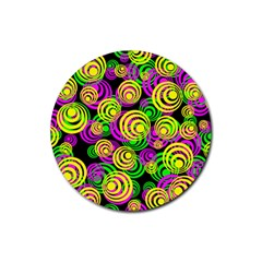 Bright Yellow Pink And Green Neon Circles Rubber Round Coaster (4 Pack)