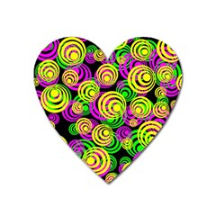 Bright Yellow Pink And Green Neon Circles Heart Magnet