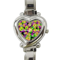 Bright Yellow Pink And Green Neon Circles Heart Italian Charm Watch