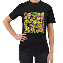 Bright Yellow Pink And Green Neon Circles Women s T Shirt (black) (two Sided)