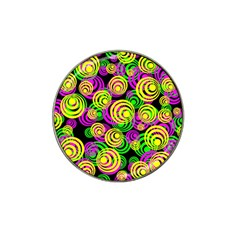 Bright Yellow Pink And Green Neon Circles Hat Clip Ball Marker