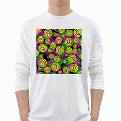 Bright Yellow Pink And Green Neon Circles White Long Sleeve T Shirts