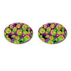 Bright Yellow Pink And Green Neon Circles Cufflinks (oval)