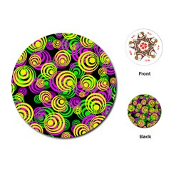 Bright Yellow Pink And Green Neon Circles Playing Cards (round)
