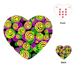 Bright Yellow Pink And Green Neon Circles Playing Cards (heart)