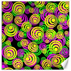 Bright Yellow Pink And Green Neon Circles Canvas 16  X 16