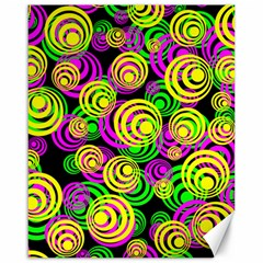 Bright Yellow Pink And Green Neon Circles Canvas 16  X 20