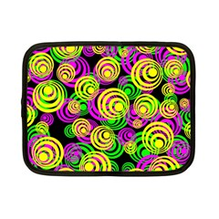 Bright Yellow Pink And Green Neon Circles Netbook Case (small)