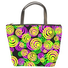 Bright Yellow Pink And Green Neon Circles Bucket Bags