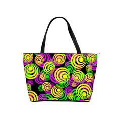 Bright Yellow Pink And Green Neon Circles Shoulder Handbags
