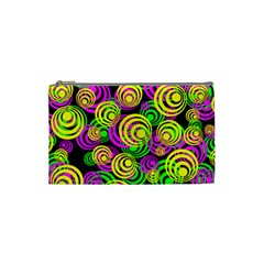 Bright Yellow Pink And Green Neon Circles Cosmetic Bag (small)