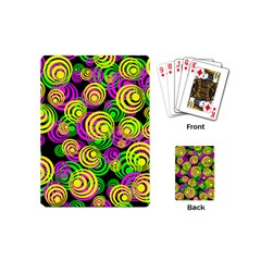 Bright Yellow Pink And Green Neon Circles Playing Cards (mini)