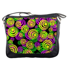 Bright Yellow Pink And Green Neon Circles Messenger Bags