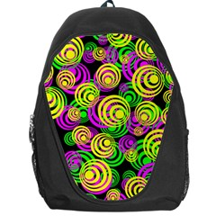 Bright Yellow Pink And Green Neon Circles Backpack Bag