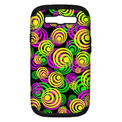 Bright Yellow Pink And Green Neon Circles Samsung Galaxy S Iii Hardshell Case (pc+silicone)