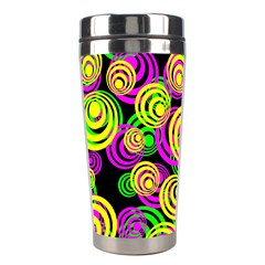 Bright Yellow Pink And Green Neon Circles Stainless Steel Travel Tumblers