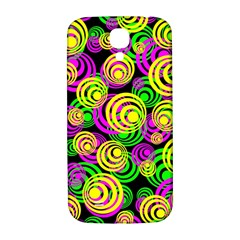 Bright Yellow Pink And Green Neon Circles Samsung Galaxy S4 I9500/i9505  Hardshell Back Case