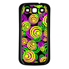 Bright Yellow Pink And Green Neon Circles Samsung Galaxy S3 Back Case (black)