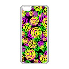 Bright Yellow Pink And Green Neon Circles Apple Iphone 5c Seamless Case (white)