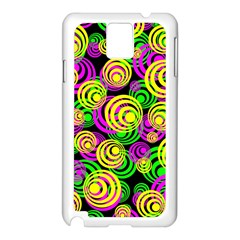 Bright Yellow Pink And Green Neon Circles Samsung Galaxy Note 3 N9005 Case (white)