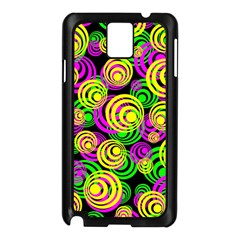 Bright Yellow Pink And Green Neon Circles Samsung Galaxy Note 3 N9005 Case (black)