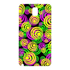 Bright Yellow Pink And Green Neon Circles Samsung Galaxy Note 3 N9005 Hardshell Back Case