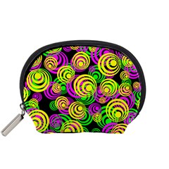Bright Yellow Pink And Green Neon Circles Accessory Pouches (small)