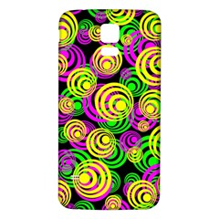 Bright Yellow Pink And Green Neon Circles Samsung Galaxy S5 Back Case (white)