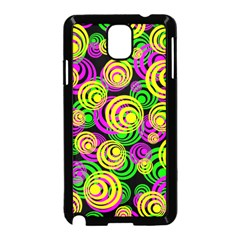 Bright Yellow Pink And Green Neon Circles Samsung Galaxy Note 3 Neo Hardshell Case (black)