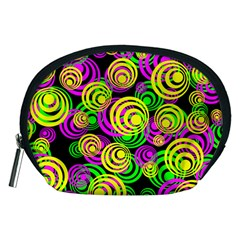 Bright Yellow Pink And Green Neon Circles Accessory Pouches (medium)