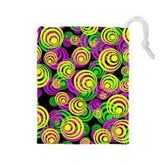Bright Yellow Pink And Green Neon Circles Drawstring Pouches (large)