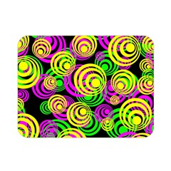 Bright Yellow Pink And Green Neon Circles Double Sided Flano Blanket (mini)