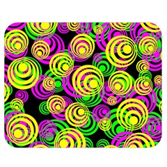 Bright Yellow Pink And Green Neon Circles Double Sided Flano Blanket (medium)