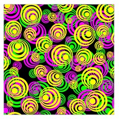 Bright Yellow Pink And Green Neon Circles Large Satin Scarf (square)