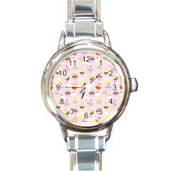 Baby Pink Valentines Cup Cakes Round Italian Charm Watch
