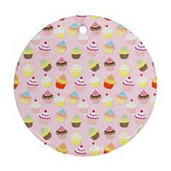 Baby Pink Valentines Cup Cakes Ornament (round)