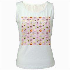 Baby Pink Valentines Cup Cakes Women s White Tank Top
