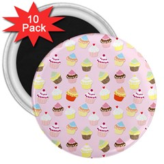 Baby Pink Valentines Cup Cakes 3  Magnets (10 Pack)