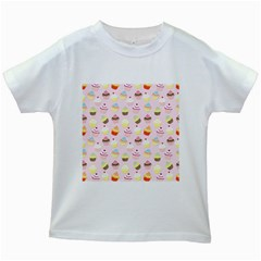 Baby Pink Valentines Cup Cakes Kids White T Shirts
