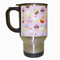 Baby Pink Valentines Cup Cakes Travel Mugs (white)