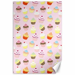 Baby Pink Valentines Cup Cakes Canvas 24  X 36