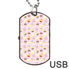 Baby Pink Valentines Cup Cakes Dog Tag Usb Flash (two Sides)