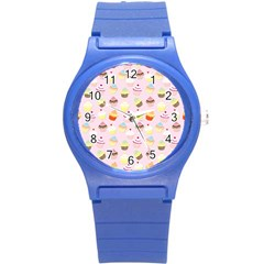 Baby Pink Valentines Cup Cakes Round Plastic Sport Watch (s)