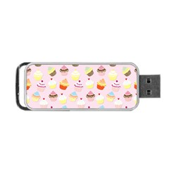 Baby Pink Valentines Cup Cakes Portable Usb Flash (one Side)