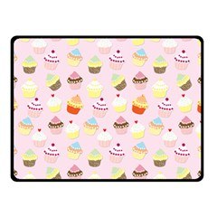 Baby Pink Valentines Cup Cakes Double Sided Fleece Blanket (small)