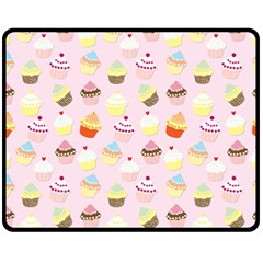 Baby Pink Valentines Cup Cakes Double Sided Fleece Blanket (medium)