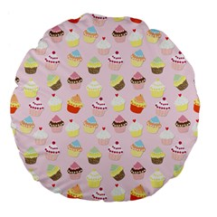 Baby Pink Valentines Cup Cakes Large 18  Premium Flano Round Cushions