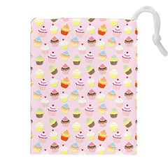 Baby Pink Valentines Cup Cakes Drawstring Pouches (xxl)